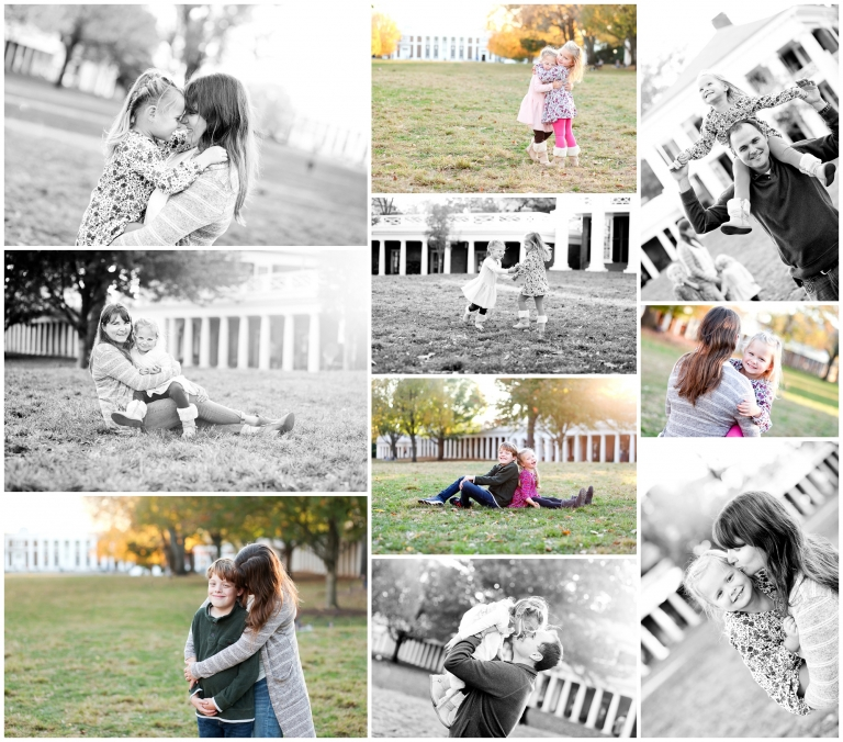 Charlottesville Family Photographer portraits fall pictures UVA Lawn University of Virginia Grounds autumn brother sisters siblings.