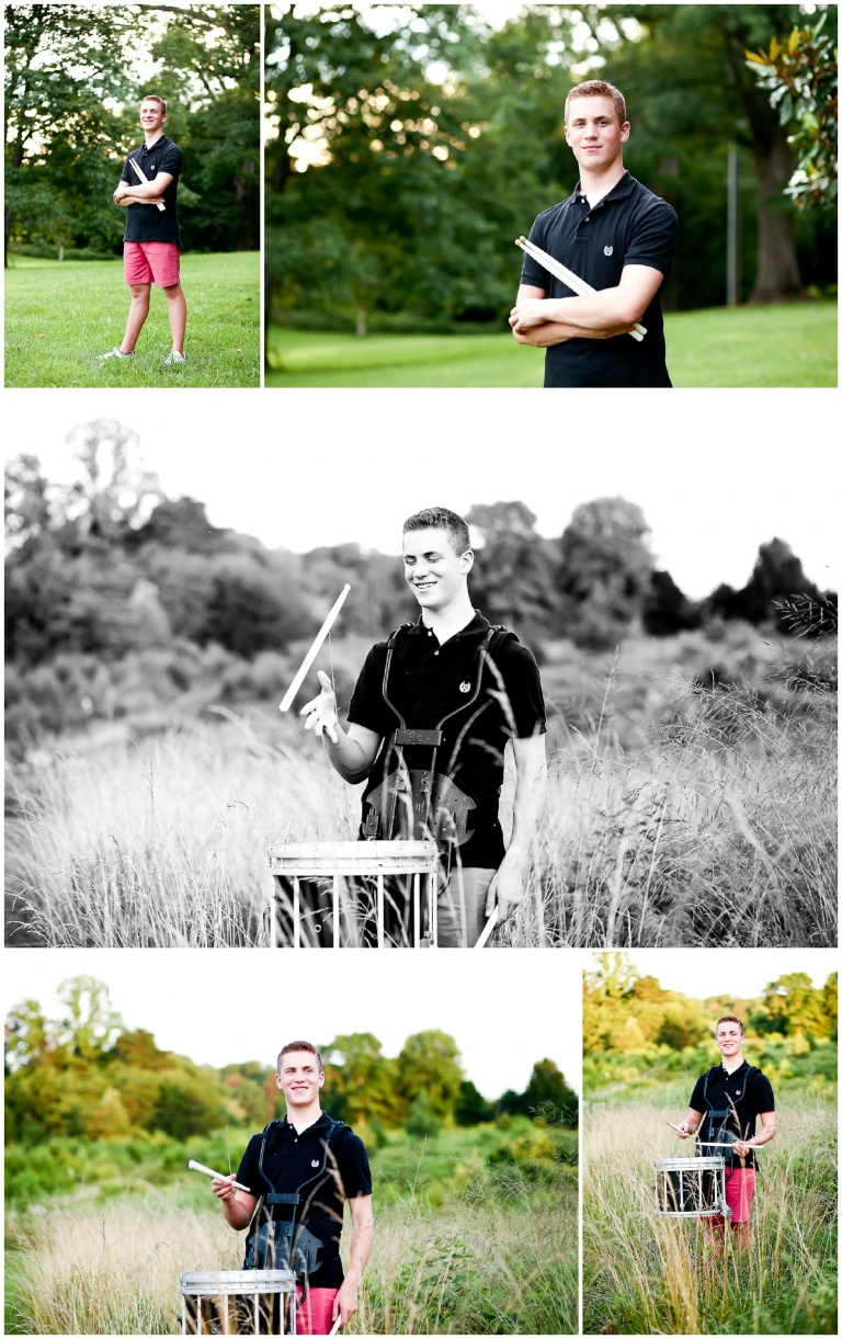 Fluvanna County High School Marching Band Drummer Portraits FCHS Teenager Charlottesville Photographer Pictures Summer Cville Senior Photography